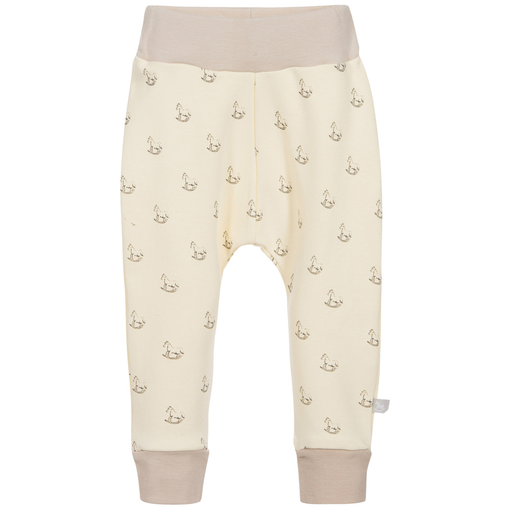 The Little Tailor - Ivory Jersey Rocking Horse Baby Trousers | Childrensalon