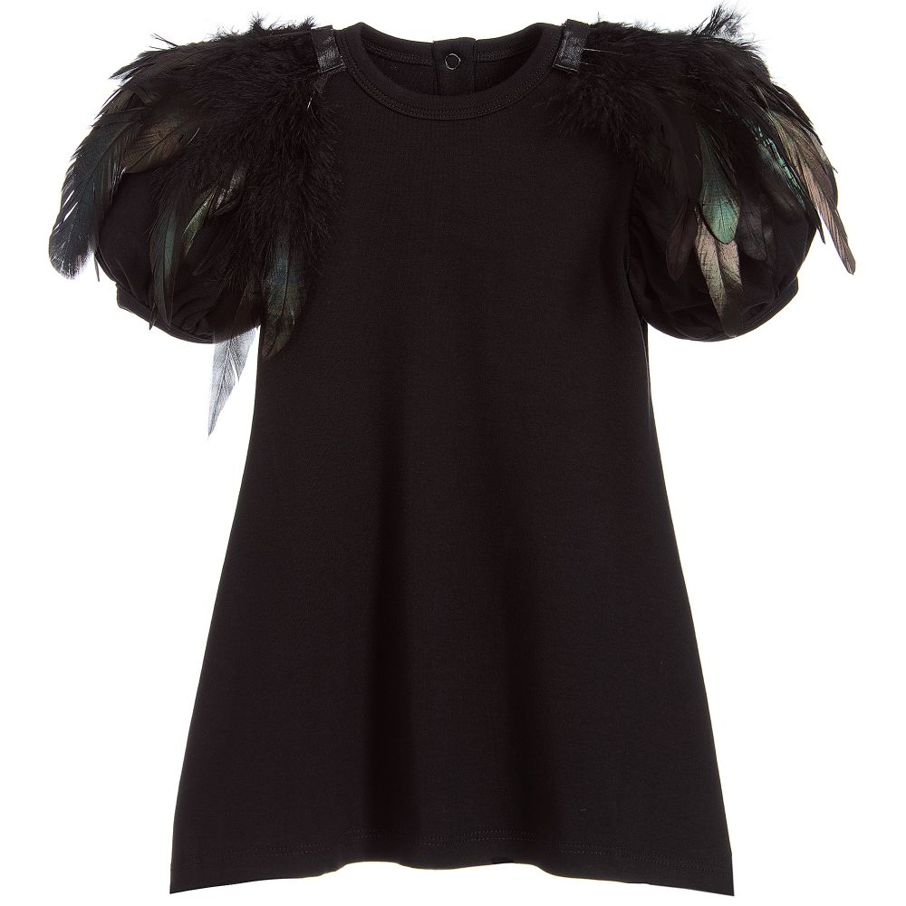 The Tiny Universe - Black Jersey Feather Dress | Childrensalon