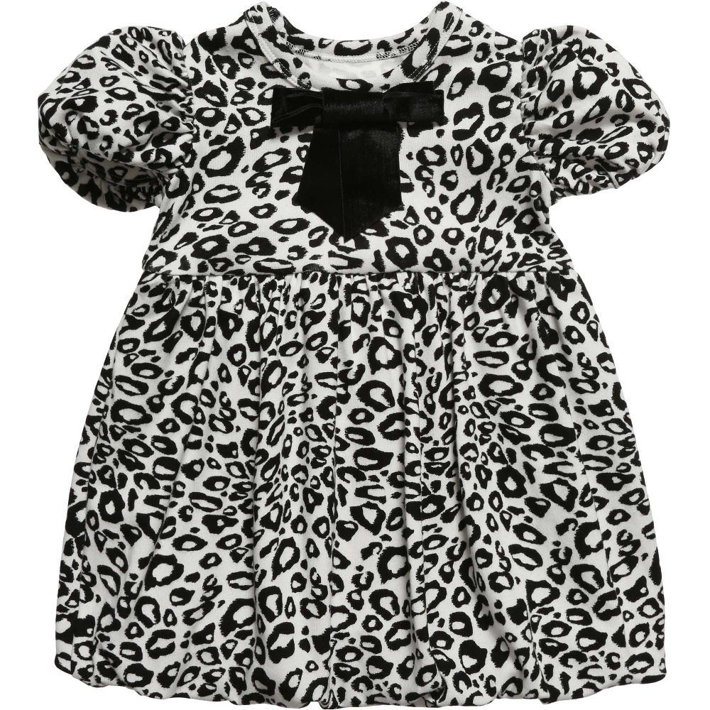 The Tiny Universe - Black 'Tiny Snow Leopard' Jersey Dress | Childrensalon