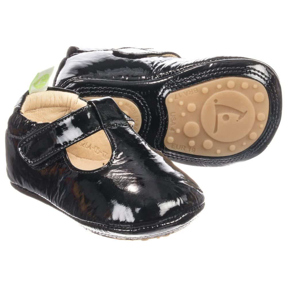tip toey joey black leather baby shoes childrensalon