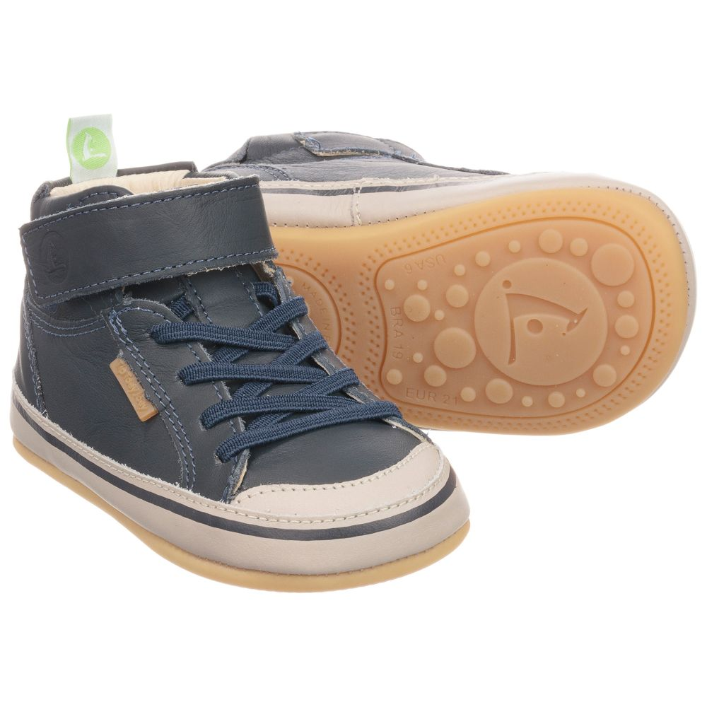 Tip Toey Joey - Boys Blue Leather Baby