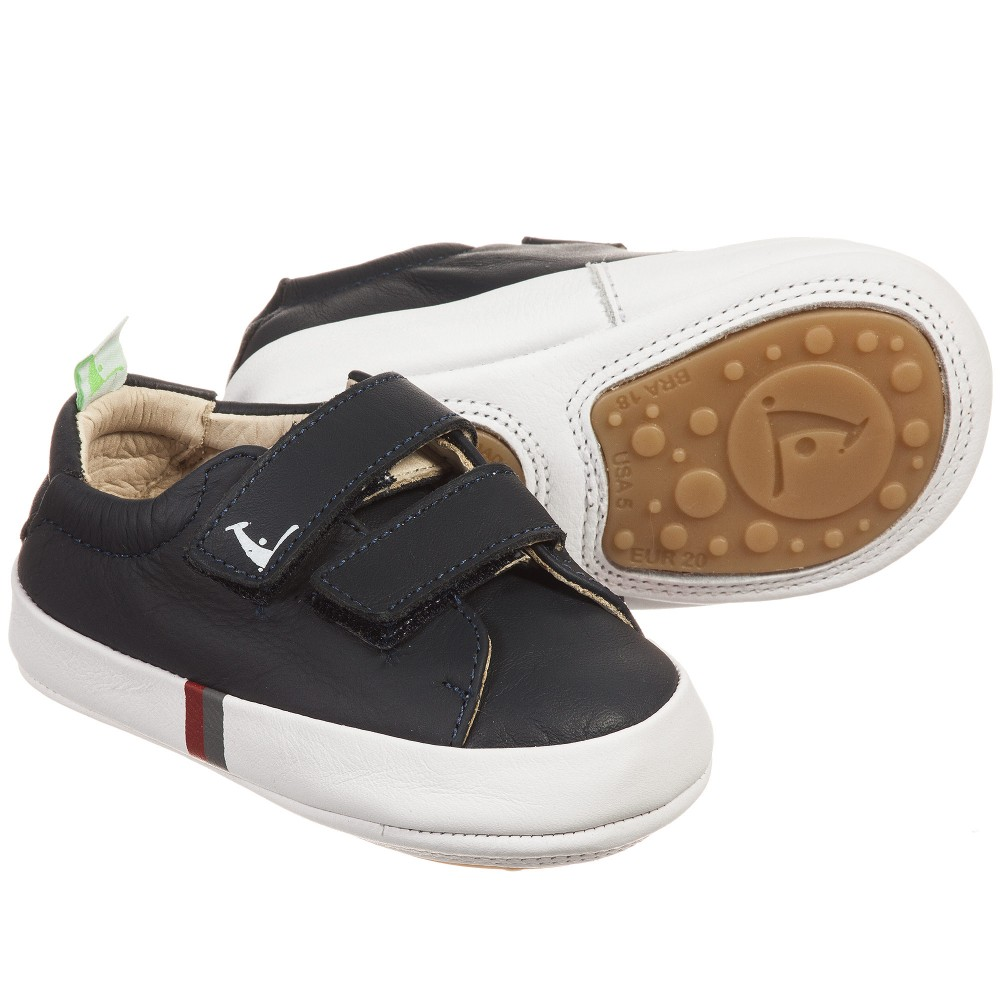 Tip Toey Joey - Boys Navy Blue Leather 'New Flashy' Trainers | Childrensalon