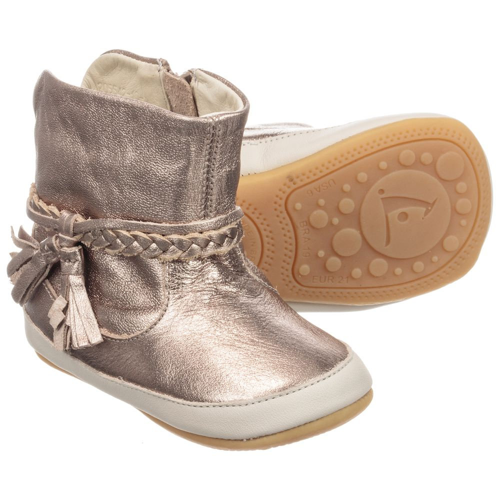Tip Toey Joey - Gold Leather Baby Boots