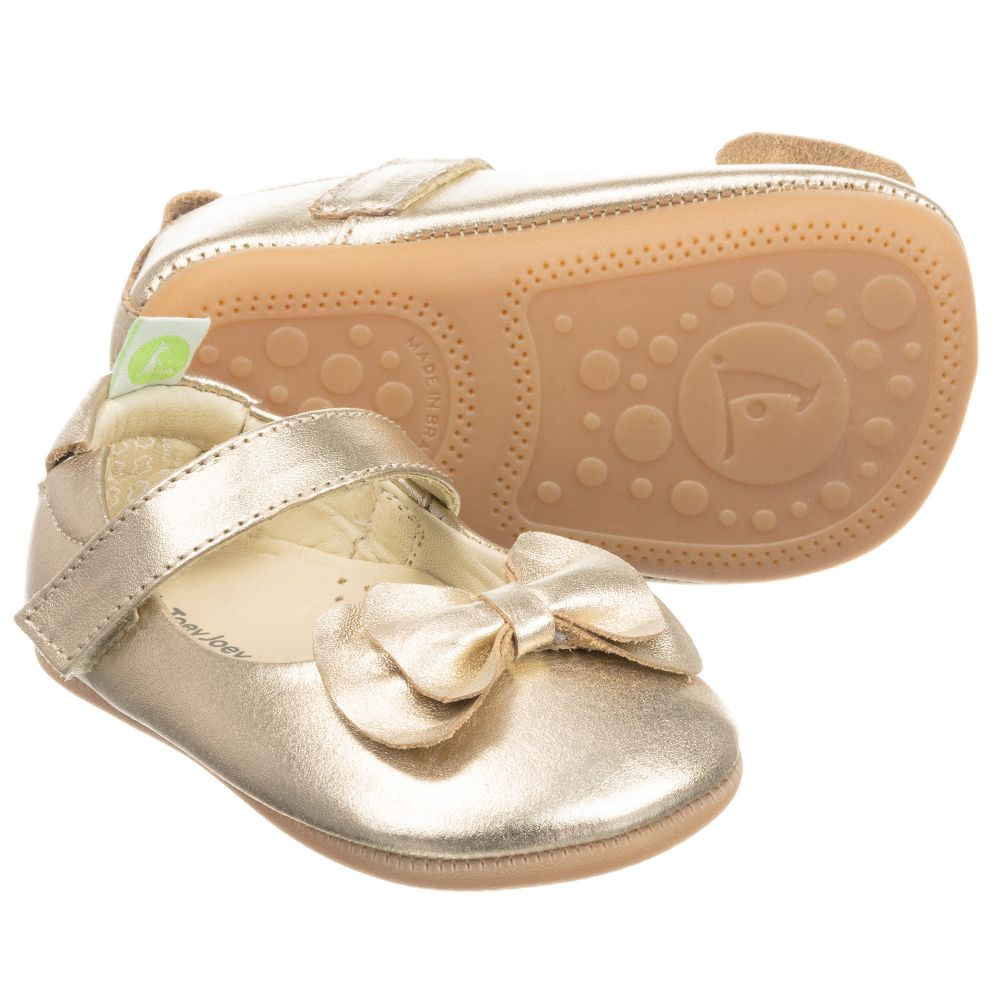 Tip Toey Joey - Gold Leather Baby Shoes
