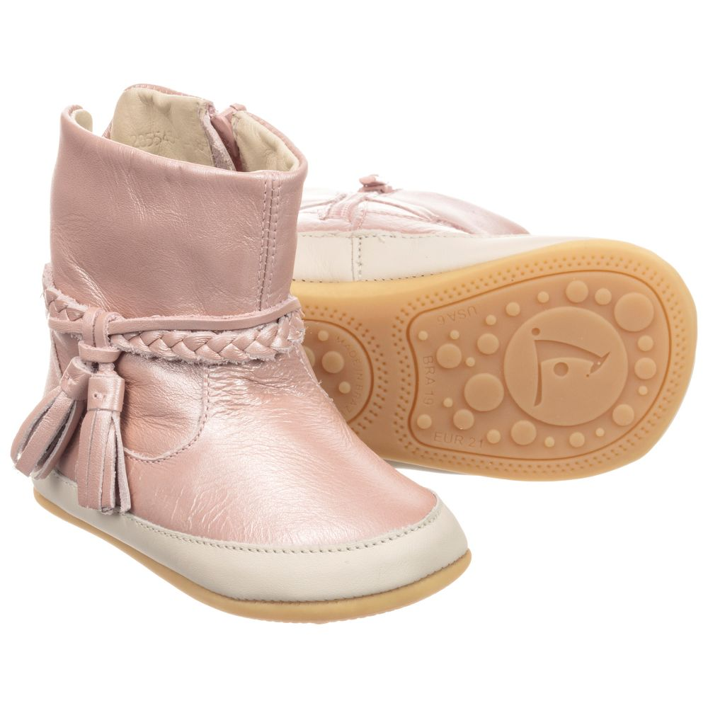 Tip Toey Joey - Pink Leather Baby Boots