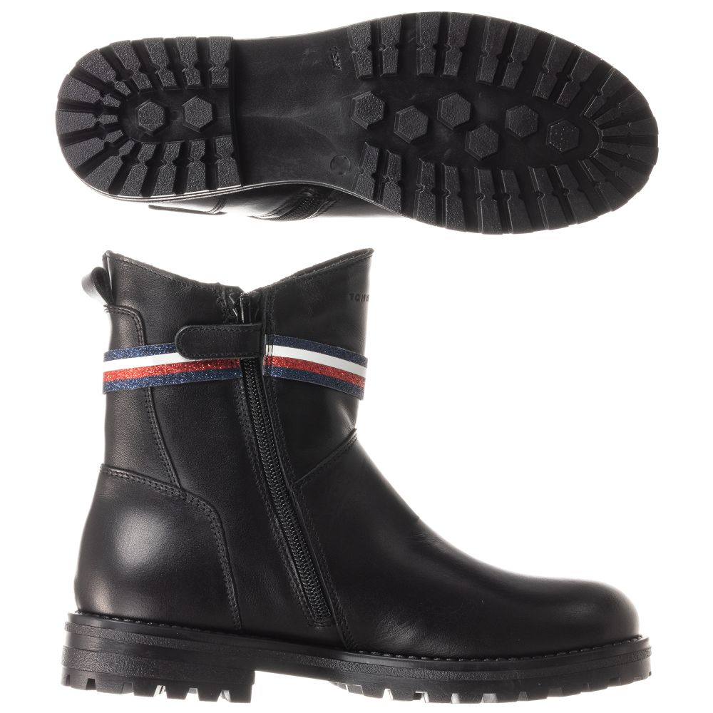 tommy hilfiger black leather boots