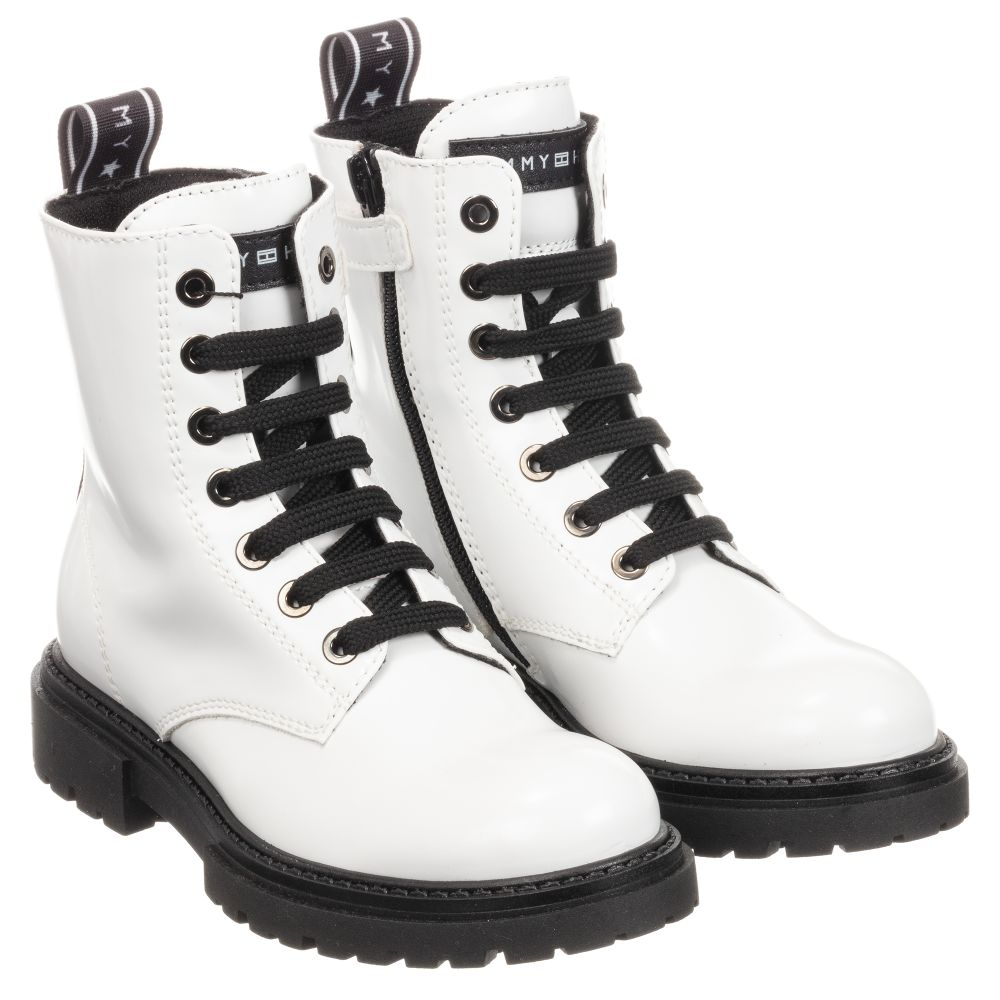 Tommy Hilfiger - White Patent Lace-Up