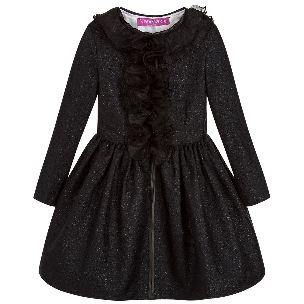 ValMax - Girls Black Frill Dress  | Childrensalon