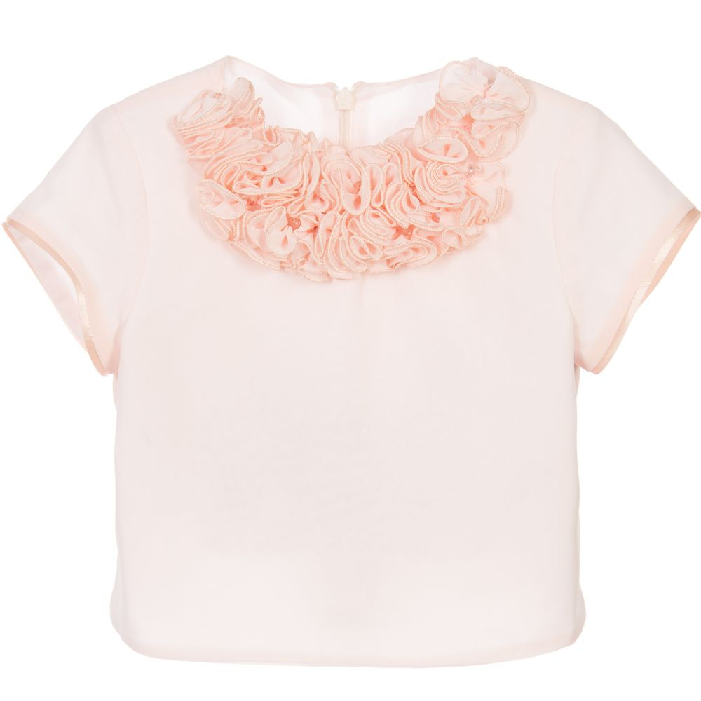 ValMax - Girls Peach Organza Ruffle Top | Childrensalon