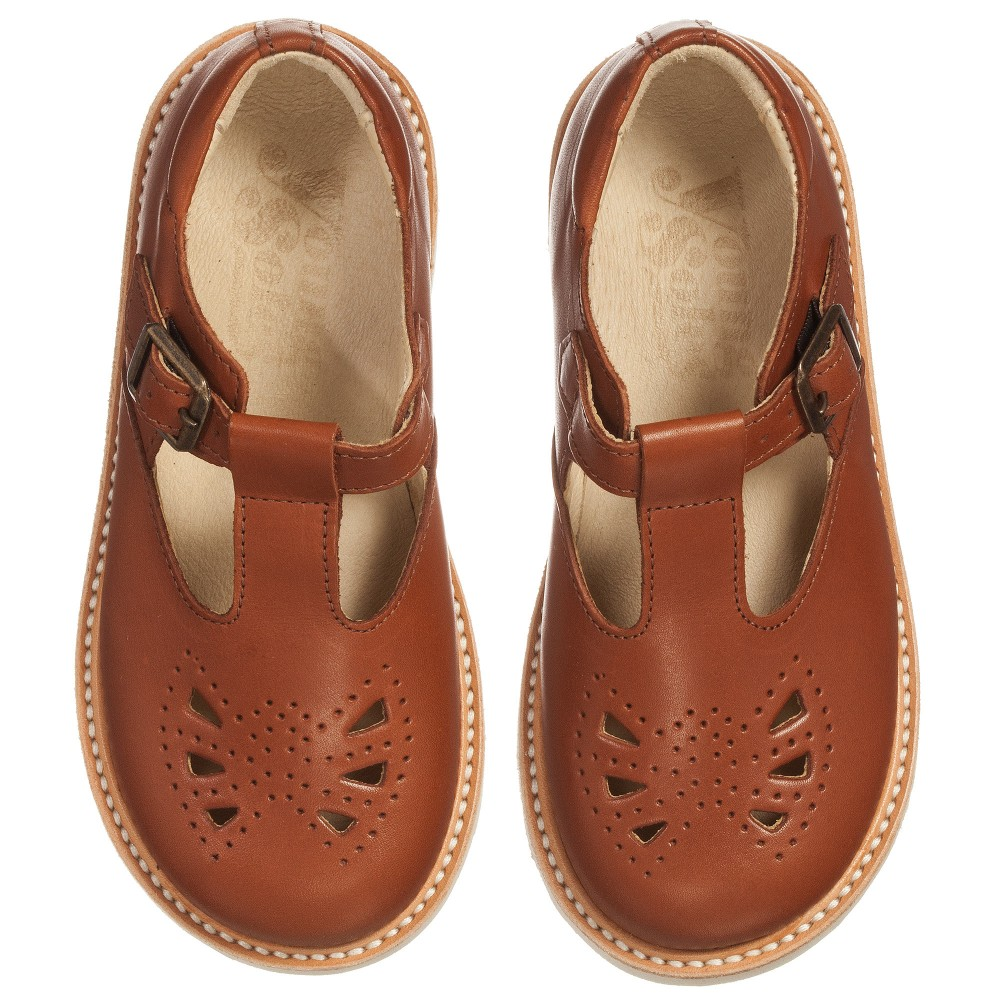 Young Soles Girls Chestnut Brown T Bar Leather Rosie