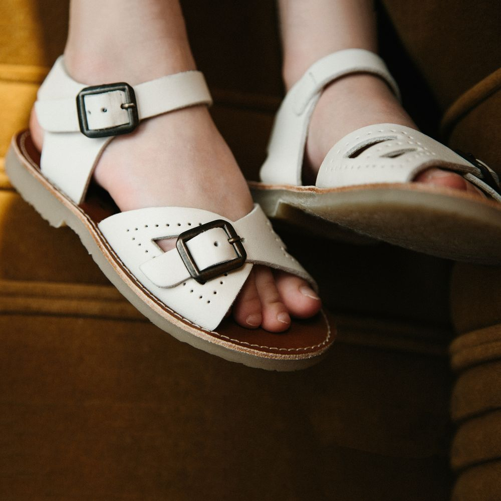 Young Soles - Ivory  Pearl  Leather Sandals