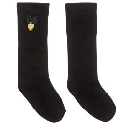 Angel's Face - Girls Black Long Socks | Childrensalon