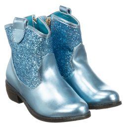 Angel's Face - Girls Blue Glitter Boots