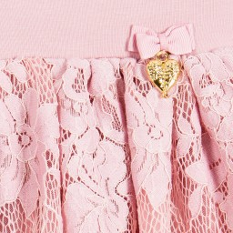 Angel's Face - Girls Pink Cotton Lace Skirt | Childrensalon
