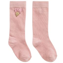 Angel's Face - Girls Pink Long Socks | Childrensalon