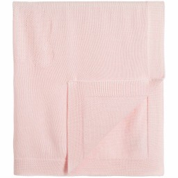 Babidu - Baby Girls Pink Knitted Cotton Blanket (93cm) | Childrensalon