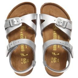 Birkenstock - Girls Silver 'Rio' Sandals   Childrensalon