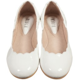 Bloch - Girls White Patent Leather 'Scallop' Ballerina Shoes | Childrensalon