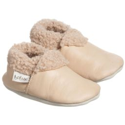 Bobux Soft Sole - Beige Leather & Fur Pre-Walker Boots | Childrensalon
