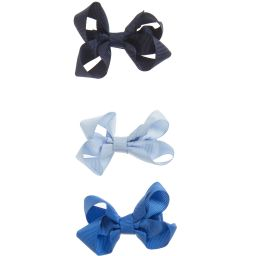 Bowtique London - 3 Blue Bow Hair Clips (6.5cm) | Childrensalon
