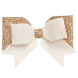 Bowtique London - Gold Glitter Bow Clip (9cm) | Childrensalon