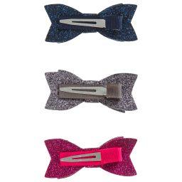 Bowtique London - Pack Of 3 Glitter Bows (6.5cm)   Childrensalon