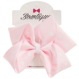 Bowtique London - Pink Dotty Bow Clip (10cm) | Childrensalon
