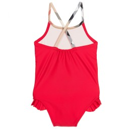 Burberry - Baby Girls Red Swimsuit with Checked Trim   Childrensalon