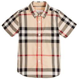 Burberry - Boys Beige Classic Check Shirt | Childrensalon