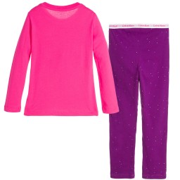 Calvin Klein - Girls Pink & Purple Cotton Logo Pyjamas  | Childrensalon