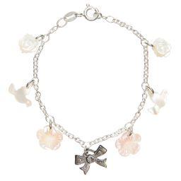 Caramel au Sucre - Pearl Charm Bracelet with Silver Chain | Childrensalon