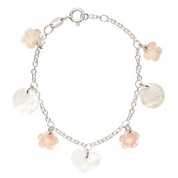 Caramel au Sucre - Pearl Flower Charm Bracelet with Silver Chain | Childrensalon