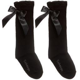 Carlomagno - Girls Black Cotton Socks   | Childrensalon