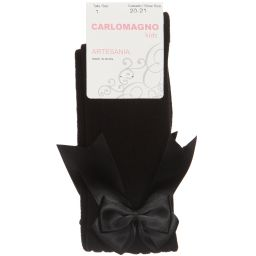 Carlomagno - Girls Black Cotton Socks | Childrensalon