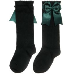 Carlomagno - Girls Dark Green Cotton Socks  | Childrensalon