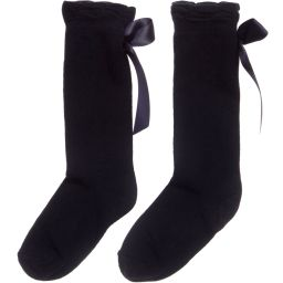 Carlomagno - Girls Navy Blue Cotton Socks | Childrensalon