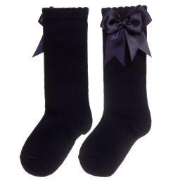 Carlomagno - Girls Navy Blue Cotton Socks    Childrensalon