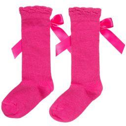 Carlomagno - Girls Pink Cotton Socks  | Childrensalon