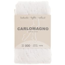 Carlomagno - Girls White Cotton Lace Tights | Childrensalon
