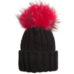 Catya - Black Merino Hat with Fur Pom-Pom | Childrensalon