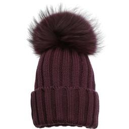 Catya - Dark Purple Wool Hat with Fur Pom-Pom | Childrensalon