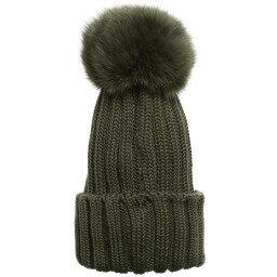 Catya - Olive Green Merino Hat with Fur Pom-Pom | Childrensalon
