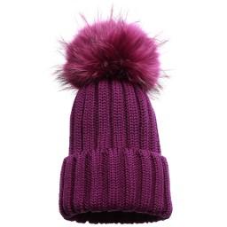 Catya - Purple Wool Hat with Fur Pom-Pom | Childrensalon