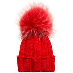 Catya - Red Merino Pom-Pom Hat  | Childrensalon