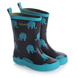 CeLaVi - Blue Elephant Rain Boots | Childrensalon