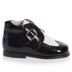 Children's Classics - Boys Black and White Patent Leather Boots | Childrensalon