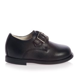 Children's Classics - Boys Black Leather Occasion Buckle Shoes | Childrensalon