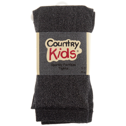 Country Kids - Black Sparkly Footless Tights | Childrensalon