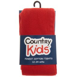 Country Kids - Red Cotton Tights | Childrensalon