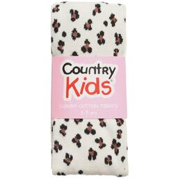 Country Kids - White Opaque Cotton Animal Print Tights | Childrensalon